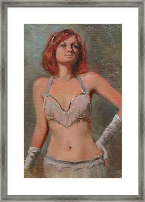 Burlesque Dancer Framed Print by Anna Rose Bain