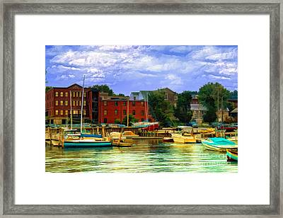 Framed Print featuring the photograph Burlington Harbor In Vermont by Gina Cormier