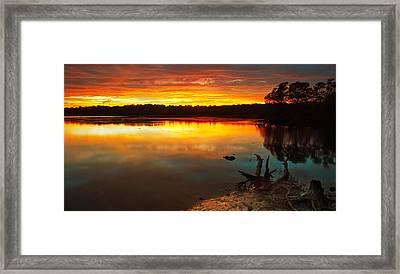 Burning Lake Framed Print