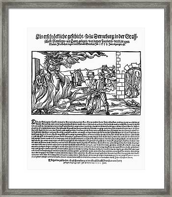 Burning Of Witches, 1555 Framed Print by Granger