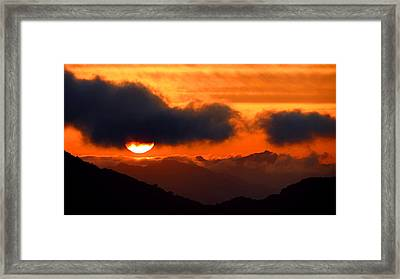 Burning Sunset  Framed Print by Catherine Natalia  Roche