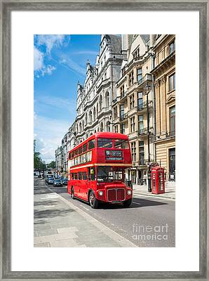 Bus On Piccadilly Framed Print by Andrew  Michael