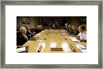 Bush Administration Meets With Military Framed Print