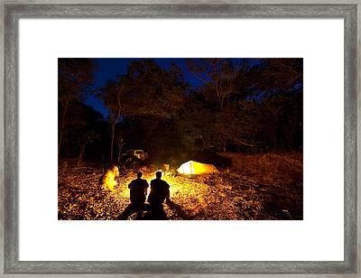 Bush Camp At Midway Waterhole Framed Print by Johnny Haglund