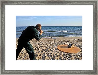 Businessman On Beach With Landline Phone Framed Print by Sami Sarkis