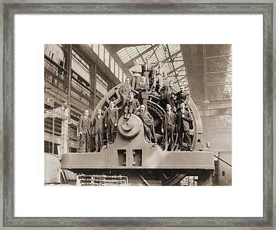 Businessmen Pose On A Giant Framed Print by Everett