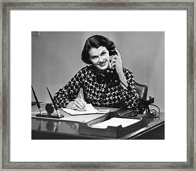 Businesswoman On Telephone Framed Print by George Marks