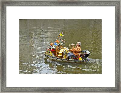 Busker On Canal Framed Print by Ed Rooney