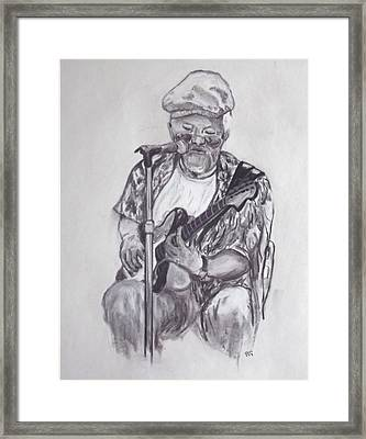 Busking 1 Framed Print by Peter Edward Green