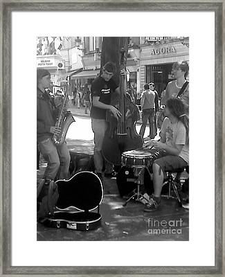 Busking Brussels Framed Print by Jennifer Sabir