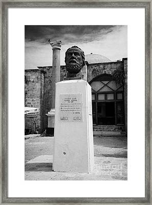 Bust Statue Of Namik Kemal In Namik Kemal Square Famagusta Turkish Republic Of Northern Cyprus Trnc Framed Print by Joe Fox
