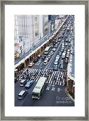 Busy Downtown Street In Japan Framed Print by Jeremy Woodhouse