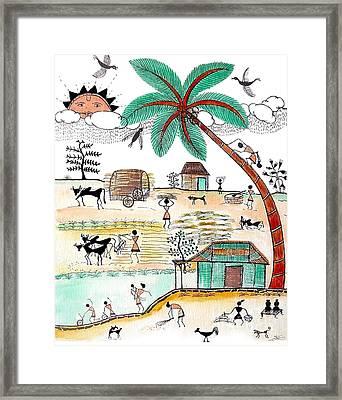 Busy Warli Day Framed Print by Anjali Vaidya