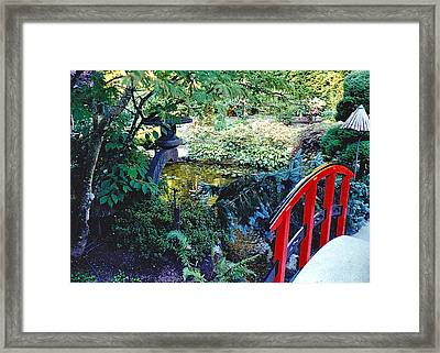 Butchart Gardens Japanese Bridge Framed Print