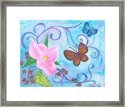 Butterflies And Flowers Framed Print