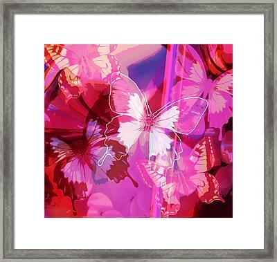Butterflies En Rouge Framed Print by Jan Steadman-Jackson