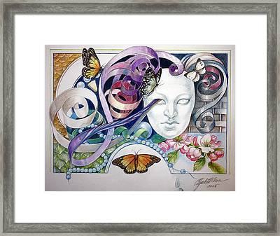 Butterflies With Mask Framed Print by Elizabeth Shafer
