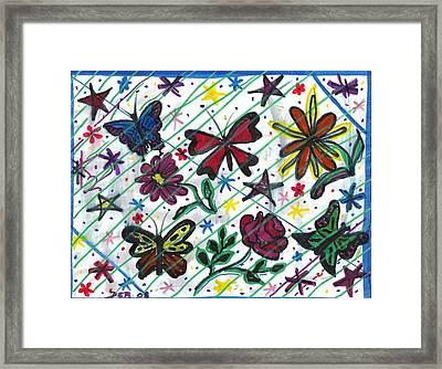 Butterfly Doodles Framed Print by Debbie Wassmann