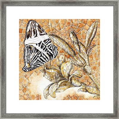 Framed Print featuring the painting Butterfly Mosaic 02 Elena Yakubovich by Elena Yakubovich