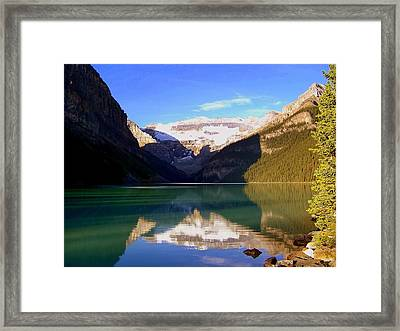Butterfly Phenomenon At Lake Louise Framed Print by Karen Wiles