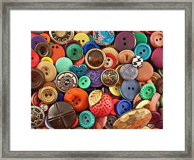Buttons Framed Print by Jeff Suhanick