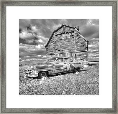 Bw - Rusty Old Cadillac Framed Print by Peter Ciro