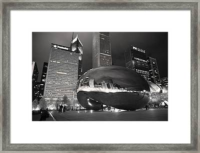 Bw Cloud Gate At Night Framed Print by Jarvis Chau