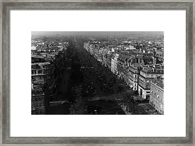 Bw France Paris Champs Elysees Avenue 1970s Framed Print by Issame Saidi
