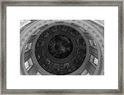 Bw France Paris Dome Fresco Charles De La Fosse 1970s Framed Print by Issame Saidi