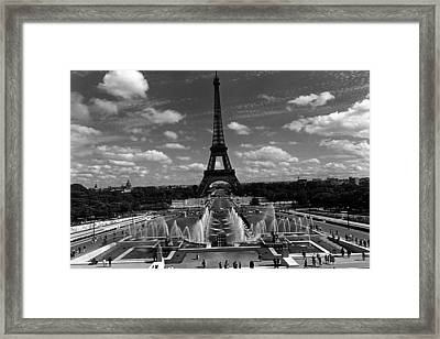 Bw France Paris Fontain Chaillot Tour Eiffel 1970s Framed Print by Issame Saidi