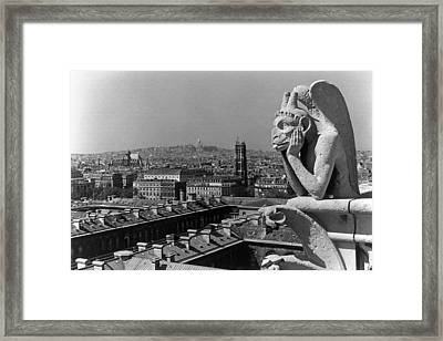 Bw France Paris Notre Dame Cathedral The Thinker 1970s Framed Print by Issame Saidi