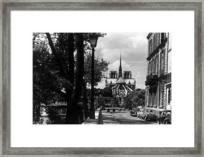 Bw France Paris Notre Dame Saint Louis Island 1970s Framed Print by Issame Saidi