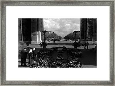 Bw France Paris Triumphal Arch Unknown Soldier 1970s Framed Print by Issame Saidi