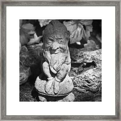 Bw Garden Gnome Squared Framed Print