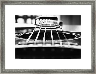 Bw Guitar Framed Print by Javier Luces