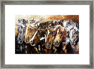 Framed Print featuring the painting By A Nose by Rae Andrews