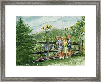 Framed Print featuring the painting By The Garden Fence  by Nancy Patterson