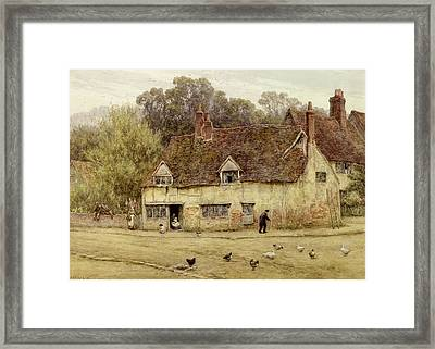 By The Old Cottage Framed Print by Helen Allingham