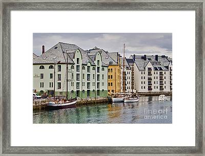 By The Waterside Alesund Norway Framed Print