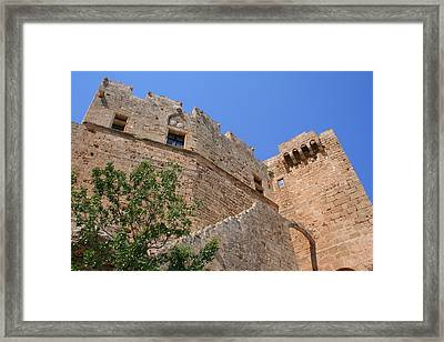 Byzantine Fortress At Lindos Framed Print by Laurel Talabere