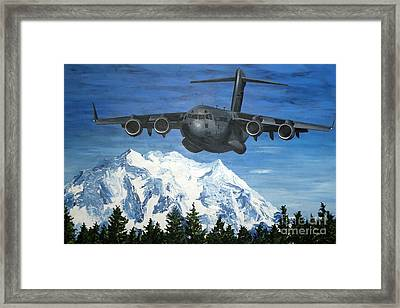C-17 And Mt. Rainier Framed Print