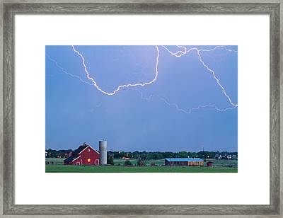 C2c Red Barn Lightning Rodeo  Framed Print by James BO  Insogna