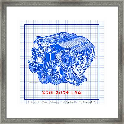 C5 2001 - 2004 Ls6 Z06 Corvette Engine Blueprint Framed Print