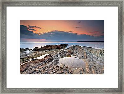 Cabasson Beach At Sunset Framed Print by Eric Rousset