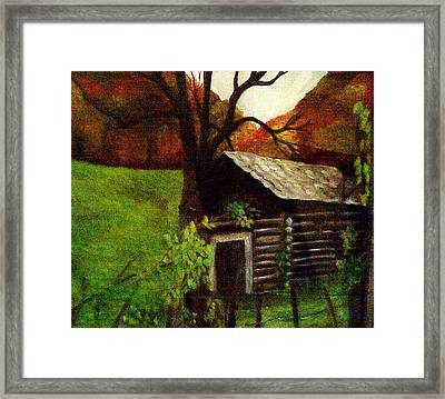 Cabin By A Hillside Framed Print by Christy Saunders Church