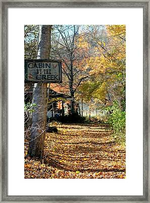 Framed Print featuring the photograph Cabin By The Creek by Laurinda Bowling