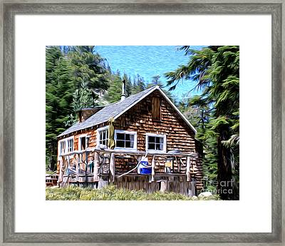 Cabin By The Lake Framed Print by Anne Raczkowski