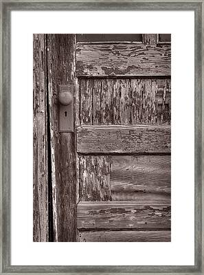Cabin Door Bw Framed Print by Steve Gadomski