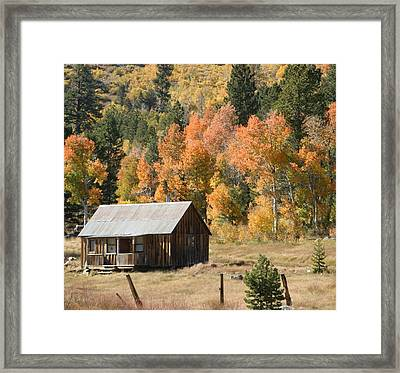 Cabin In Autumn Framed Print
