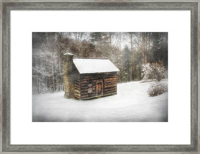 Cabin In The Fog Framed Print by Christine Annas